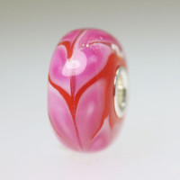 Pink and Red Fern Unique Bead