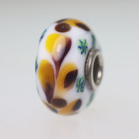 White Opaque Bead With Leaves