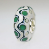 Ivory and Green Opaque Unique Bead