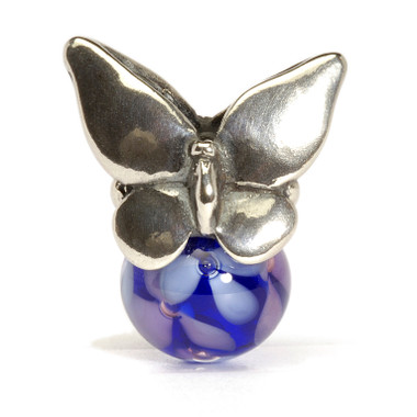 Summer glass and silver butterfly Trollbeads