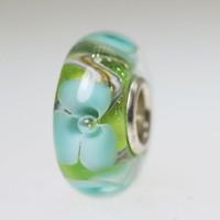 Aqua Flower On Green Bead