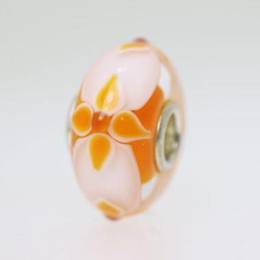Orange & White Unique Bead