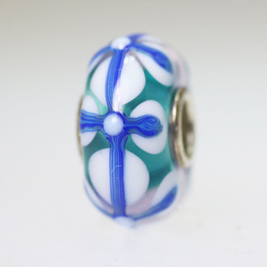 Aqua and Blue Stained Glass Bead