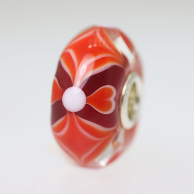 Red Unique Bead With Hearts