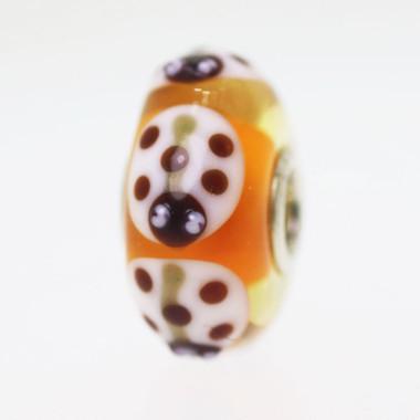 Orange Based Ladybug Bead