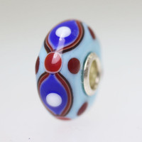 Blue Opaque Bead with Red