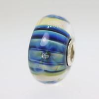 Blue Stripe Flower Bead