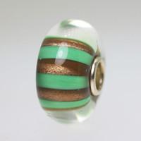 Gold and Green Glitter Stripe Bead