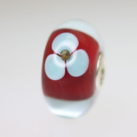 Red Based Flower Bead