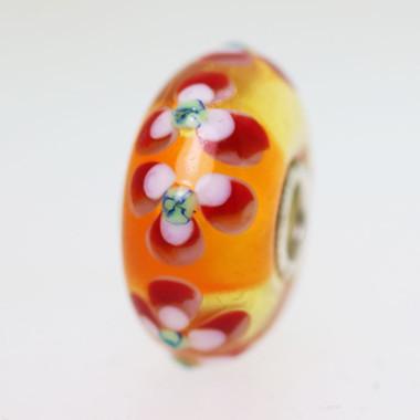 Orange Double Flower Bead