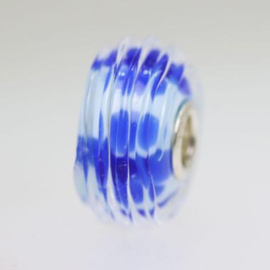 Blue Bead With Ridges