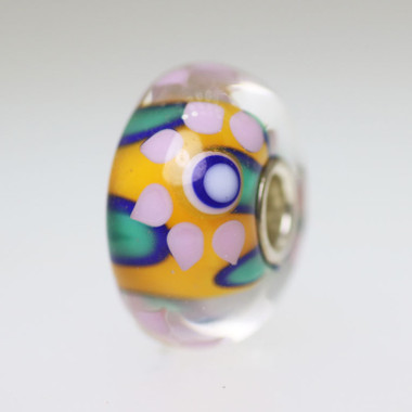 Orange and Aqua Flower Bead