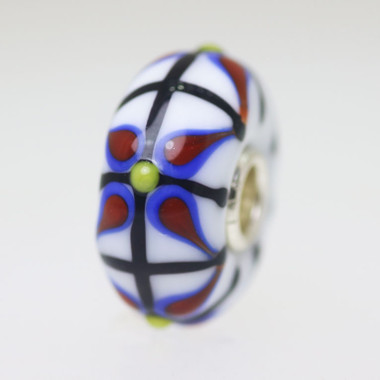 Opaque White Bead With Blue & Red
