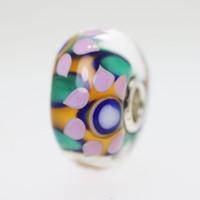 Aqua & Orange Flower Bead