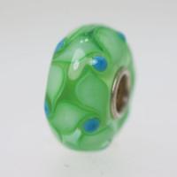 Green Bead With Aqua Dots