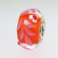 Red Unique Bead with Pink Leaves