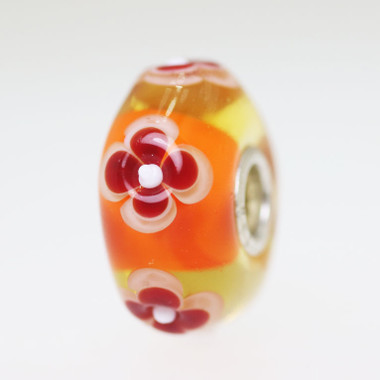 Orange Flower Unique Bead