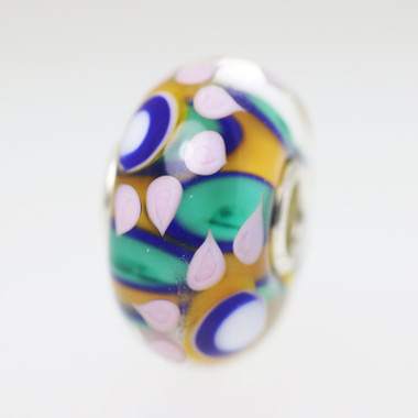 Aqua Orange Flower Bead