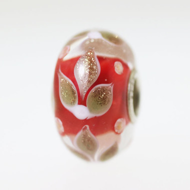Glitter Flowers On A Red Base Bead
