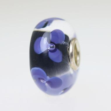 Black & Violet Flower Bead