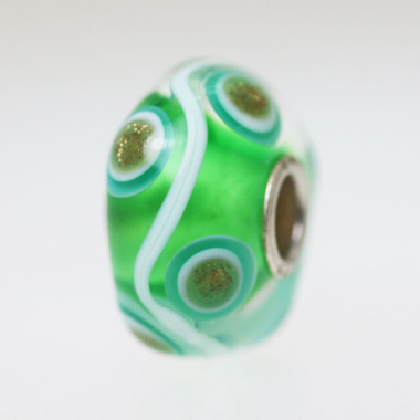 Green With Glitter Circles Bead