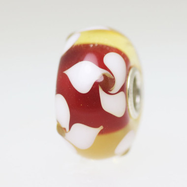 Red & White Flowers Bead