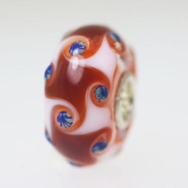 Red & White Harlequin Unique Bead
