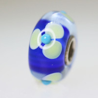 Blue Bead With Flowers