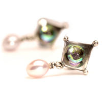 Dichroic/Pearl, Earrings