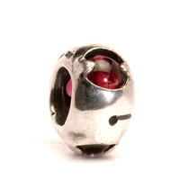 Silver Bead With Garnets, Retired