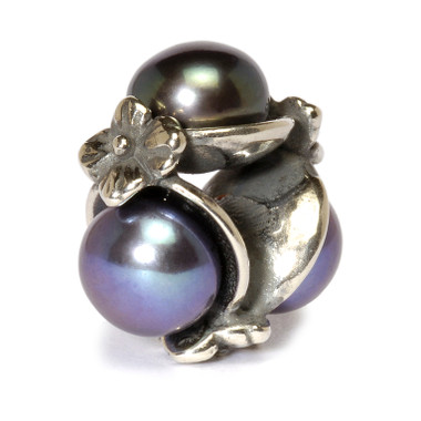 Triple Pearl Bead, Black Trollbeads