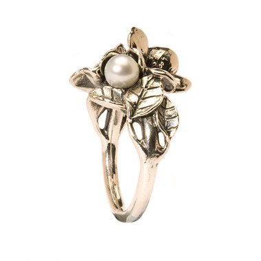 Sterling Silver Hawthorn with Pearl Ring