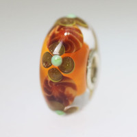 Orange Unique Flower Bead