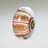 Red and Gold Glitter Stripe Bead