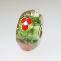 Green and Red Unique Bead With Glitter