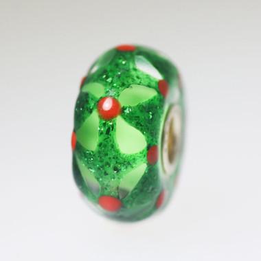Green Sparkle Glass  Bead