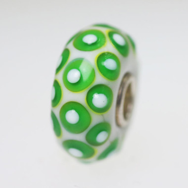 Opaque White Bead With Green Dots
