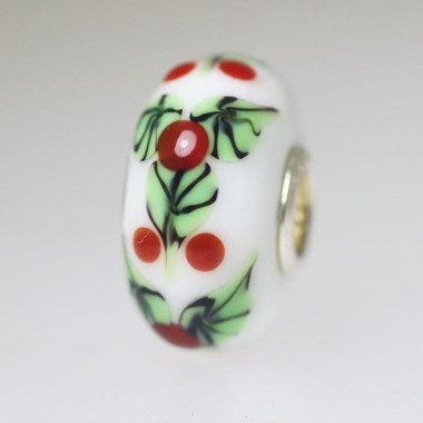 Opaque White Bead Red Berries
