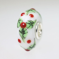 White Opaque Holly Bead