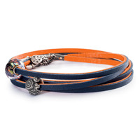 Navy and Orange Trollbeads Leather Bracelet