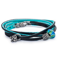 Leather Bracelet Cyan/Key