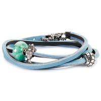 Leather Trollbeads Bracelet Light Blue and Dark Grey
