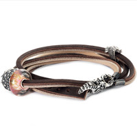 Leather Bracelet, Brown/Light Grey
