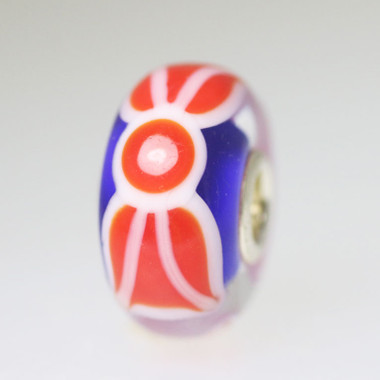 Red and White Design On Blue Base Bead