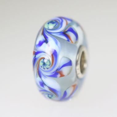 Blue Unique Bead With Swirls