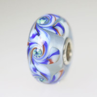 Blue Unique Bead With Swirls