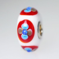 White Opaque Bead With Red & Blue