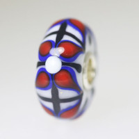 White Based Bead With Blue and Red Flowers