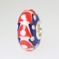 Red and White Designs On Blue Bead