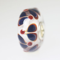 White Bead With Blue & Red